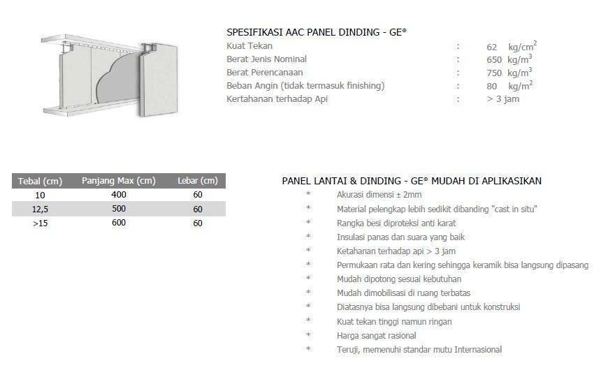 Panel Lantai - Spesifikasi Dinding AAC